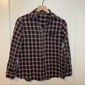 Brandy Melville Plaid Flannel Button-Down Shirt